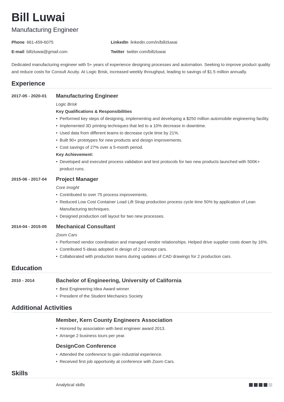 Manufacturing Engineer Resume Example Template Nanica Job Resume Examples Resume Examples Data Scientist