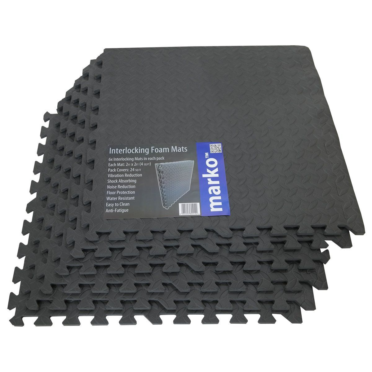 24 Sq Ft Interlocking Foam Mats Tiles Gym Play Garage