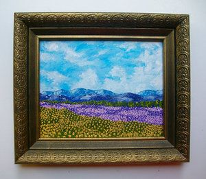 Lavender in Provence  #painting #interiordesign #homedecor #homedesign #artcollector #landscape #lavender #acrylics #giltframe #france