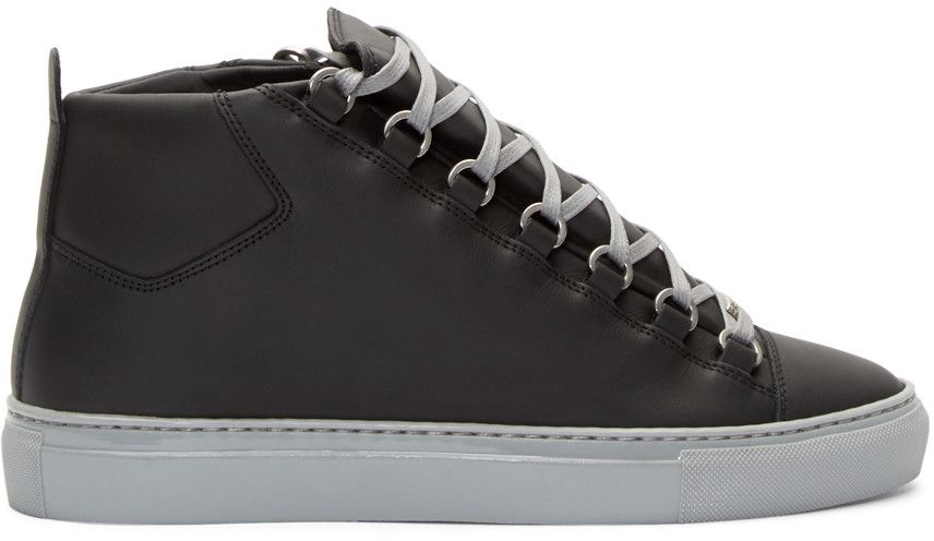 BALENCIAGA Black   Grey High-Top Arena Sneakers.  balenciaga  shoes   sneakers 5f5a7413a