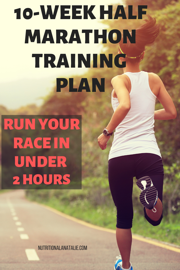 This 10 week half marathon training plan will help you run your race in under two hours. FREE training plan with schedule. Great running and nutrition tips to keep you motivated. #halfmarathon #marathon #runner #marathontrainingplan