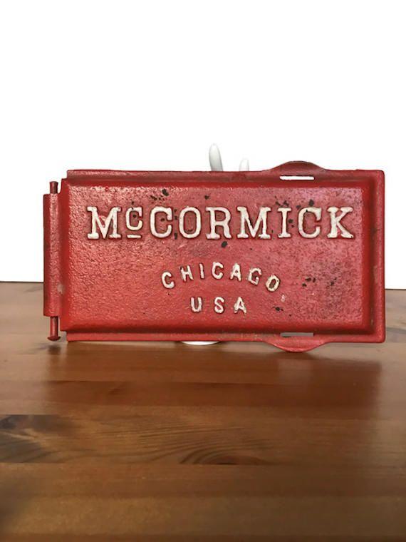 Antique cast iron tractor door McCormick Chicago tool box lid - Antique Cast Iron Tractor Door McCormick Chicago Tool Box Lid
