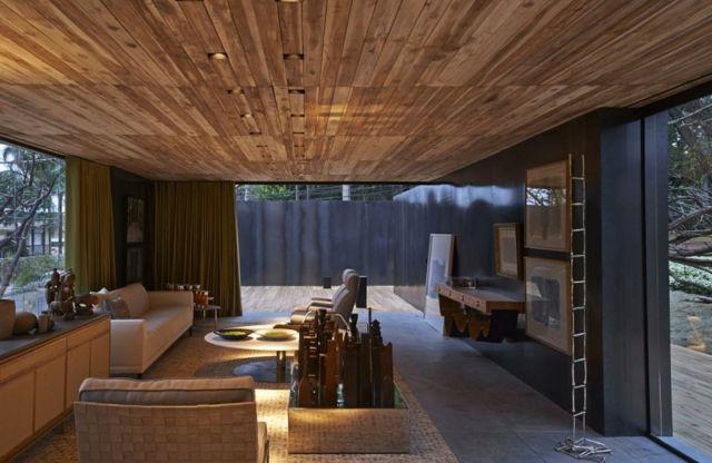 Decke Möbel Design Beleuchtung Betonboden Wohnideen Wohnzimmer