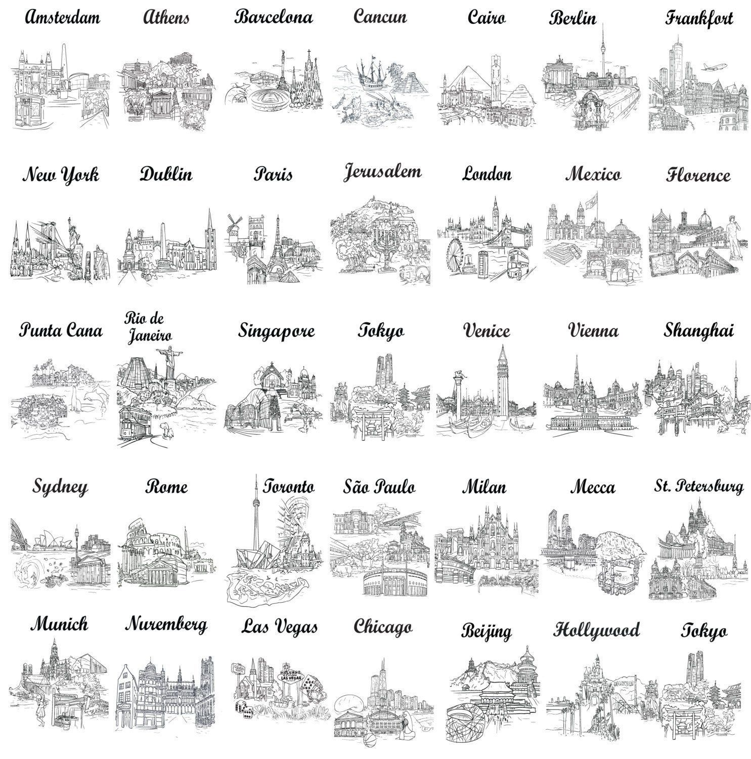 World City Travel Theme Table Number Cards Black And White