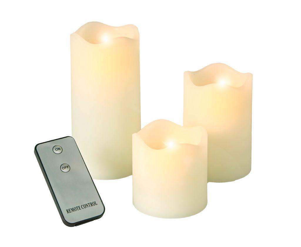 3er Set Led Kerzen Creme Candles Flameless Candle