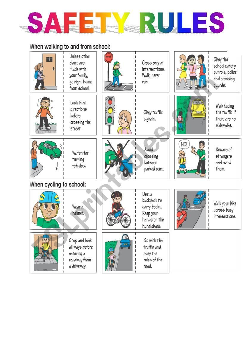 safety rules ESL worksheet by hammatos in 2020 Safety