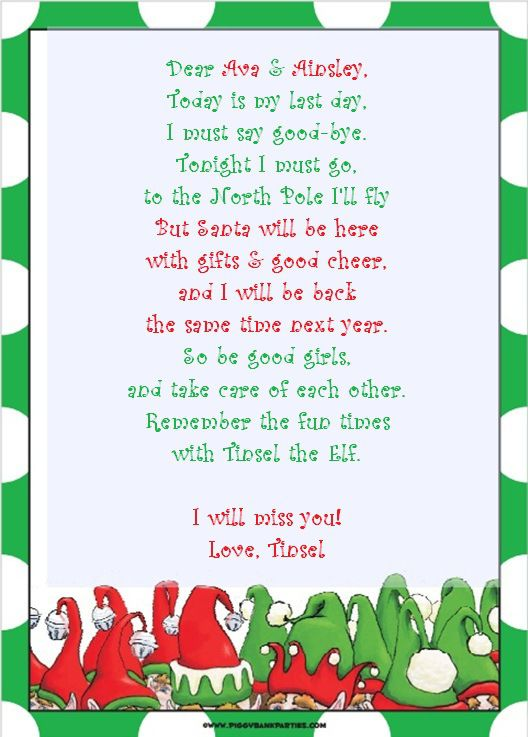 Elf On Shelf Letter Template  TinselS Antics  Shenanigans  Day