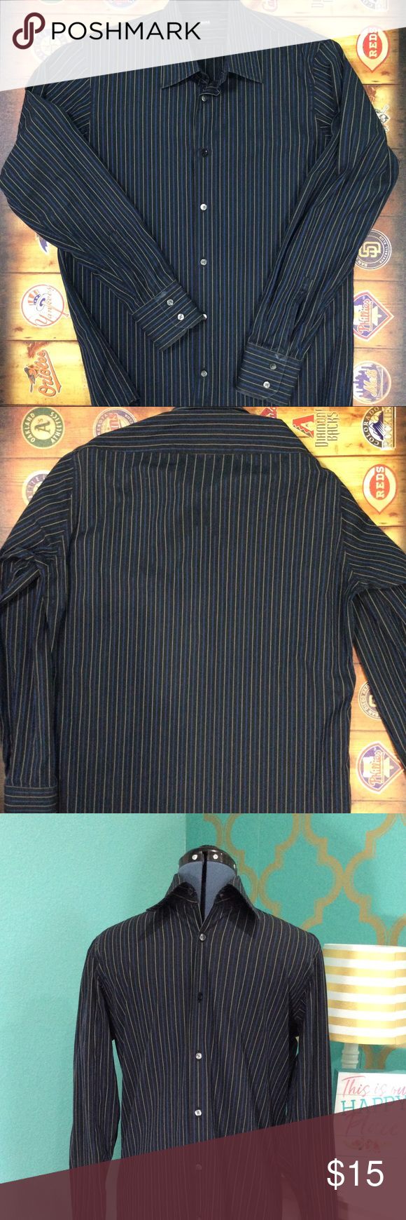 aa2a98f7c Boss Dress shirt Boss black with blue and white dress shirt. 100% cotton.  🌹Starch stains on cuffs of each arm as shown in pictures 🌹a couple of  buttons ...