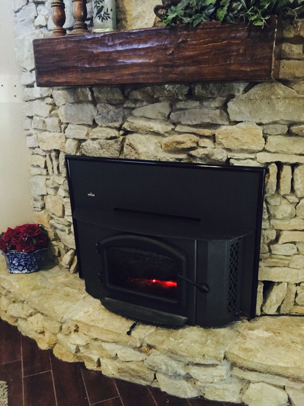 DIY fireplace mantel (rough hewn look)  I used poplar 1 1/4
