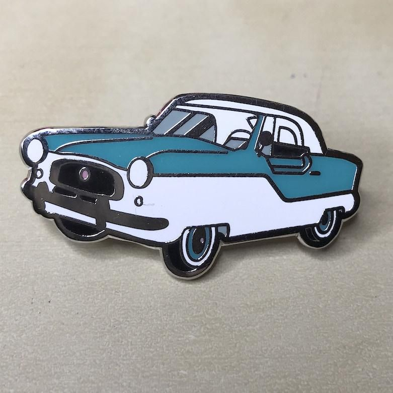 Brooch: 1956 Nash Metropolitan Turquoise Classic Car Pin