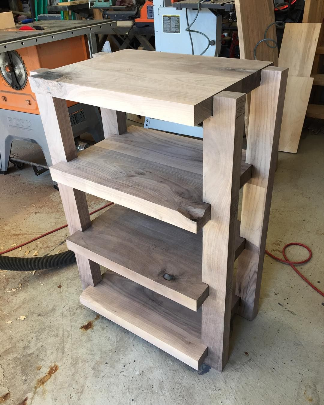 just finished mocking up this black walnut audio rack on this beautiful saturday