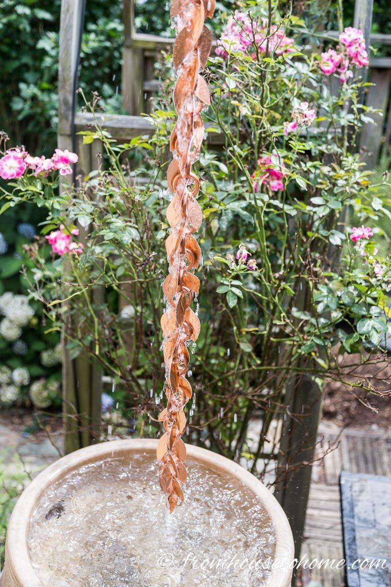 The installed rain chain DIY Rain