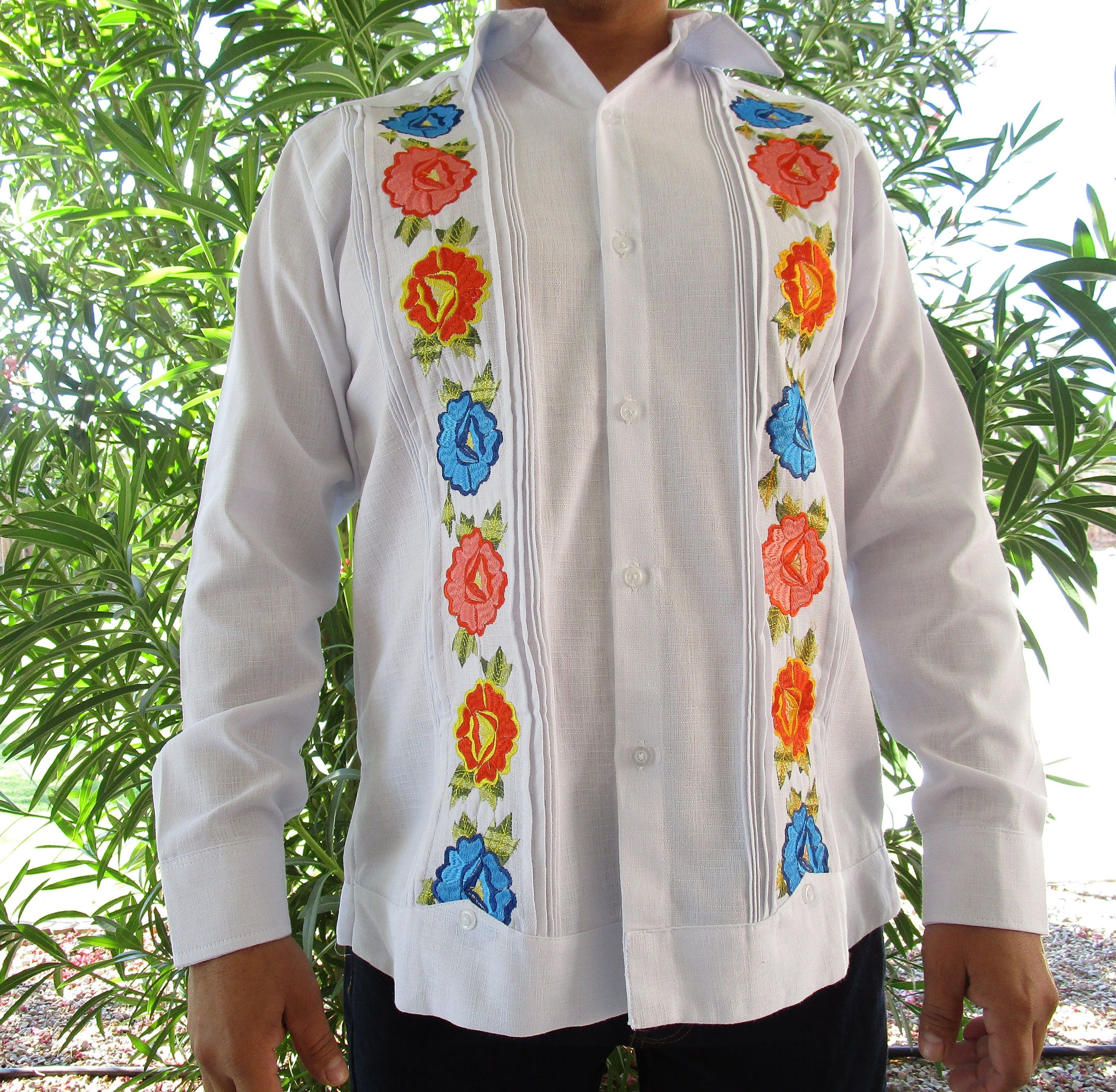 **I HAVE MORE MODELS AVAILABLE IF YOU WANT TO TAKE A LOOK IN MY SHOP, SHIRTS FOR MEN SECTION** www.etsy.com/shop/ColoresMexicoCrafts. Beautiful linen Guayabera for gentlemen with handmade embroidery. We strive to offer the customer a quality product and good taste, mixing a classic garment like a guayabera with the artisan touch that is part of our roots. Fall in love with the craft and dress trendy in yours special events. SIZES: (Look images for the details) SIZE 36 / Small SIZE 38 / Medium SI