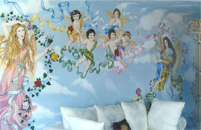 Angel Murals I Love the collumn Home Ideas Pinterest