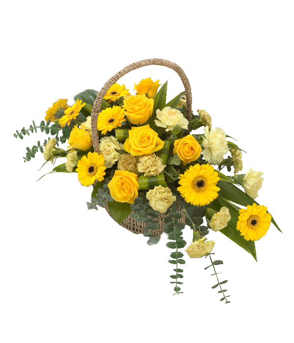 Flowers For Golden Wedding Anniversary: Pure Gold: Classic Basket Arrangement In Bright Golds