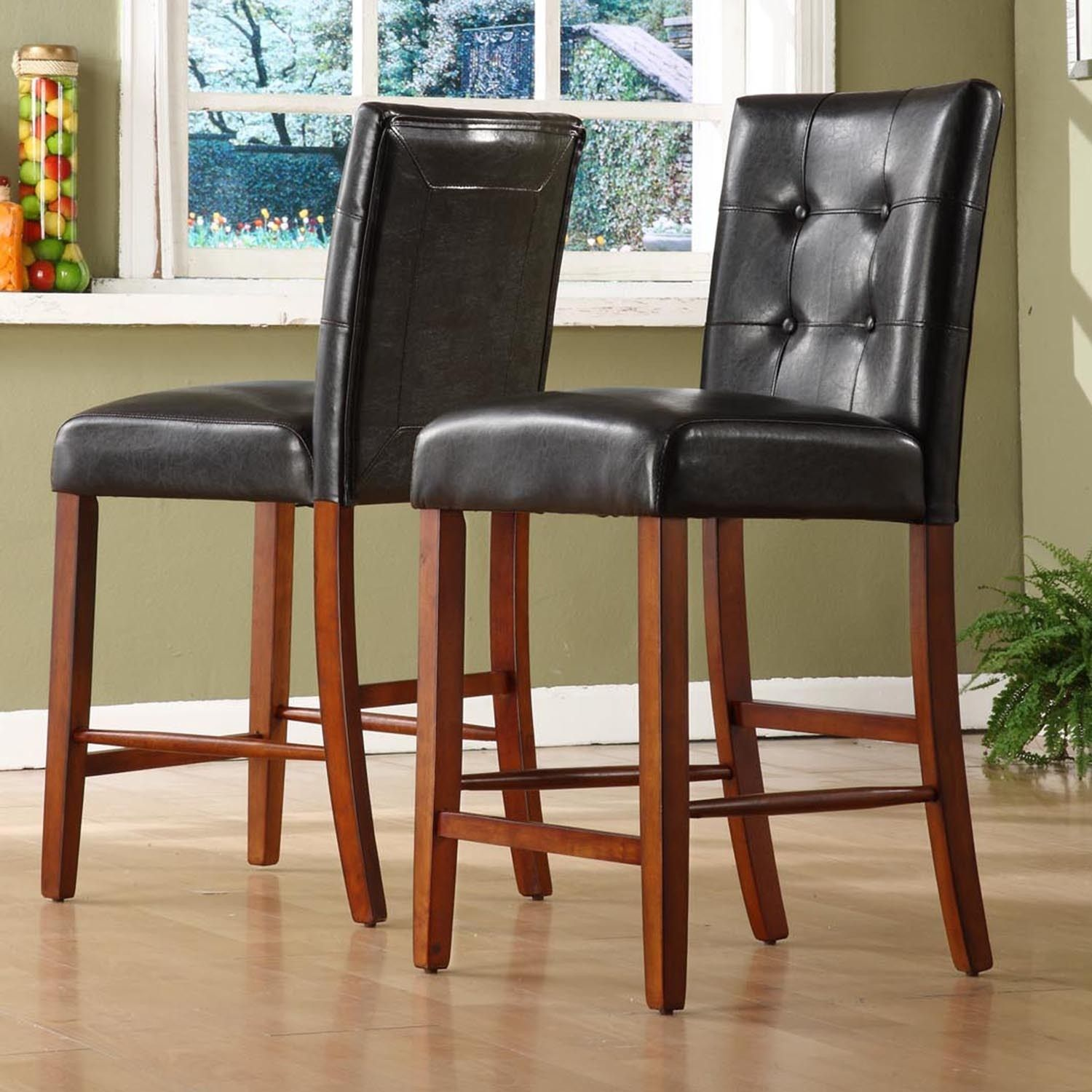 Tribecca home hutton faux leather counter height stools set of 2 brown cherry