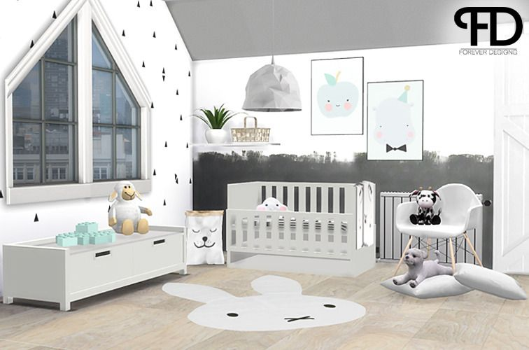 ForeverDesigns — Jace Kidsroom - Nursery This Set Was Actually... | Sims 4 Bedroom, Sims Baby, Sims 4