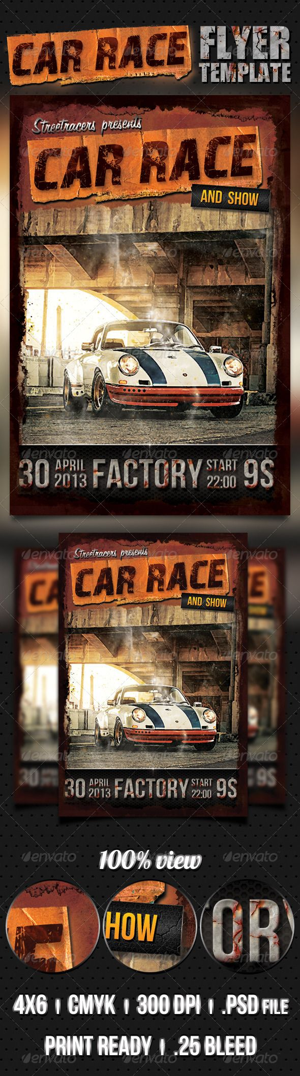 Car Race Flyer   Auto racing, Flyer template and Grunge
