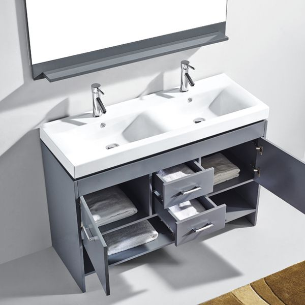 Great Virtu USA Gloria 48 Inch Grey Double Sink Bathroom Vanity Cabinet Set