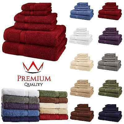 6 Piece Bath Towel Set 100% Egyptian Cotton 725 Gram 10 Colors Luxurious Towels