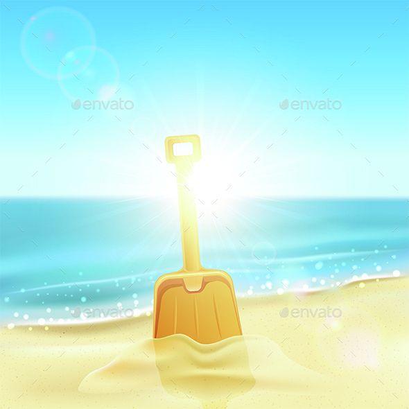 Shovel in sand on beach tropical background font logo and vector shovel in sand on beach by losw tropical background with orange shovel on the sandy beach illustration voltagebd Choice Image