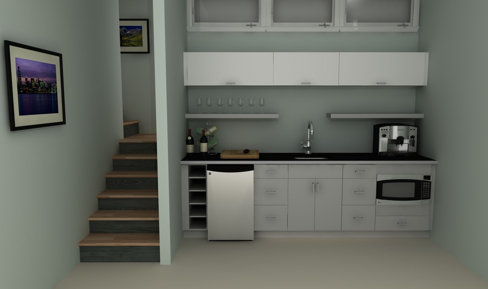 An Ikea Basement Kitchenette With High Gloss Doors In