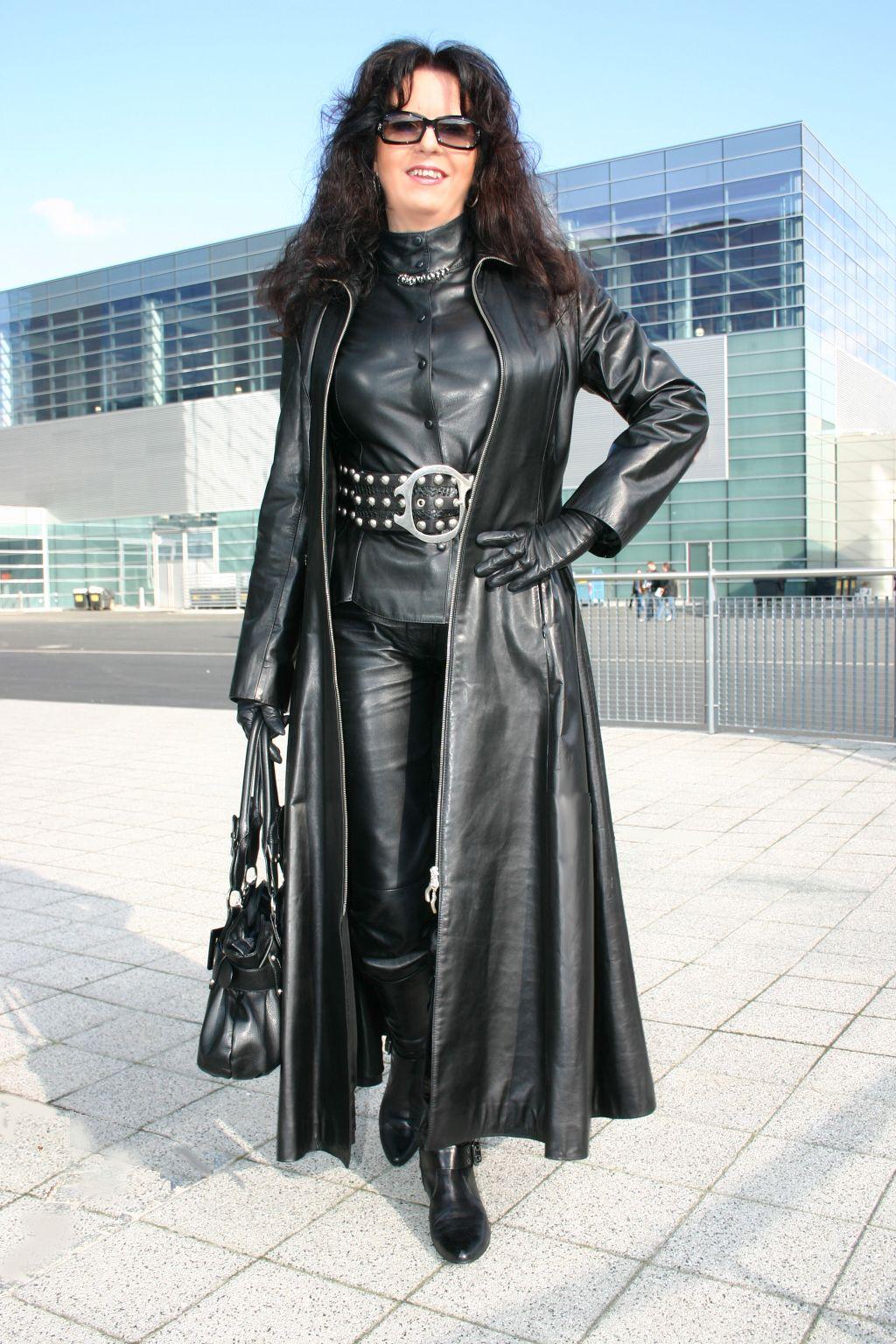 Milf in leather coat