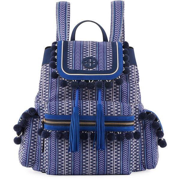 a0f18a075c2 Tory Burch Scout Printed Pompom Backpack ( 395) ❤ liked on Polyvore  featuring bags