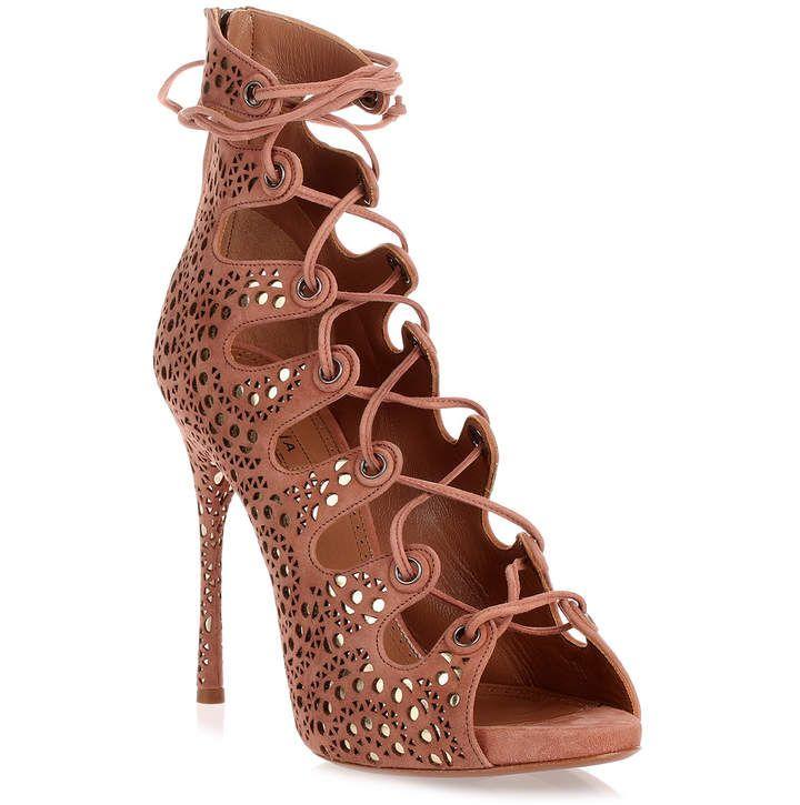 1b4a5e357 Alaïa Dark nude suede lace-up sandal  shopstyle  affiliate