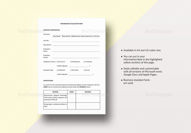 Performance Evaluation Tem  Document Design Templates