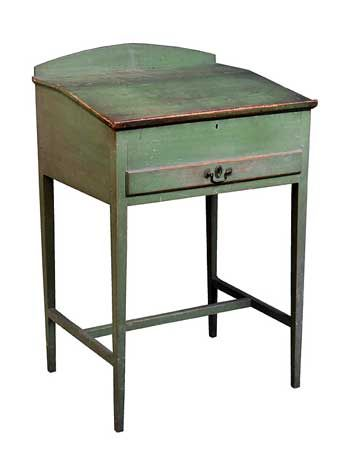 Rare Shaker Desk Pine Maple And Chestnut Original Green Painted Finish Signed In White Chalk In Script On Back Shaker Furniture Furniture Country Furniture