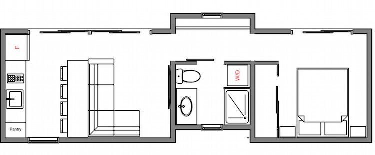 modhaus is a one-bedroom unit with sleek exterior paneling and a