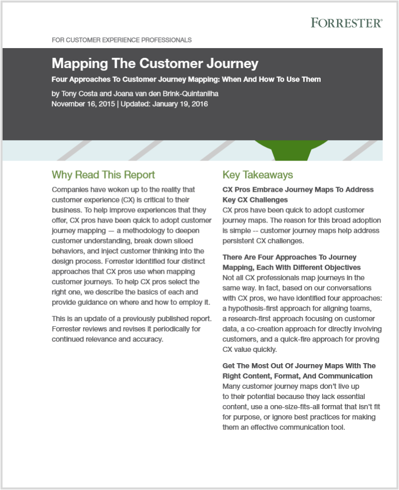 Forrester Report Mapping The Customer Journey Customer Journey Mapping Journey Mapping Why Read