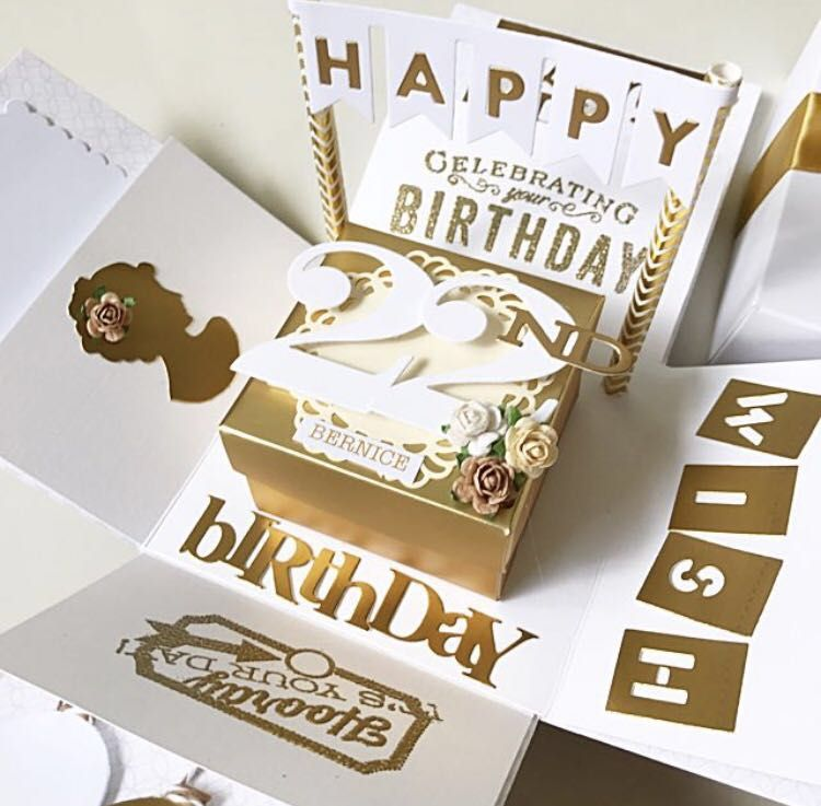 Happy 22nd Birthday Explosion Box Card In White And Gold