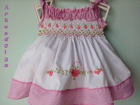 How To Make A Dress With Hand Embroidery Smocking Youtube Smocked Clothes Smocking Neck Designs For Suits