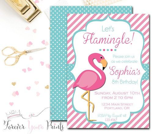 flamingo birthday invitation flamingo pool party invitation