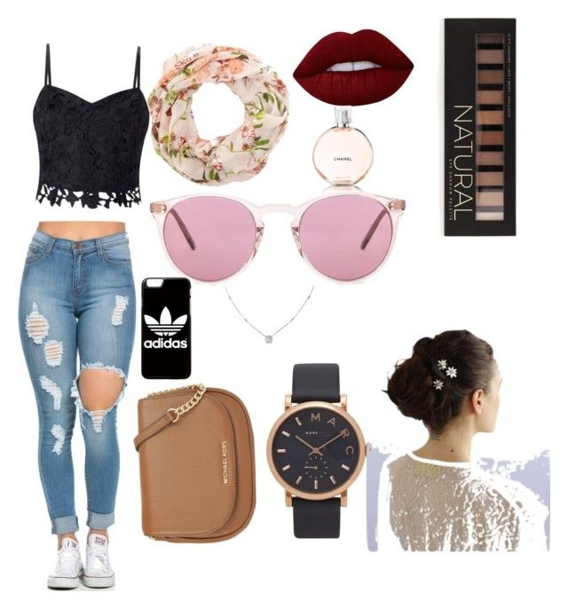 """""""Beauty"""" by amy6601 on Polyvore featuring Lipsy, MICHAEL Michael Kors, Oliver Peoples, adidas, Marc Jacobs, Ice, Lime Crime, Forever 21 and Chanel"""