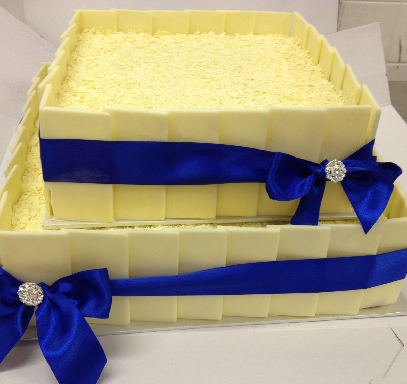 White Panel (Electric Blue Ribbon) Wedding Ice Cream Cake | I Do ...