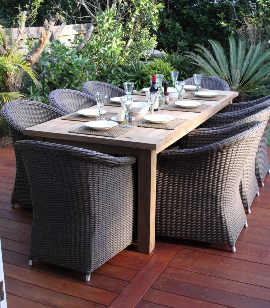 Elegant Extraordinary Wicker Round Patio Furniture Set Of Venice Outdoor Club Chair  And Large Rectangle Wood Dining Home Design Ideas
