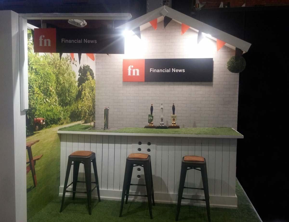 Exhibition Stand Builders Manchester : Financial news garden pub booth at plsa manchester exhibition