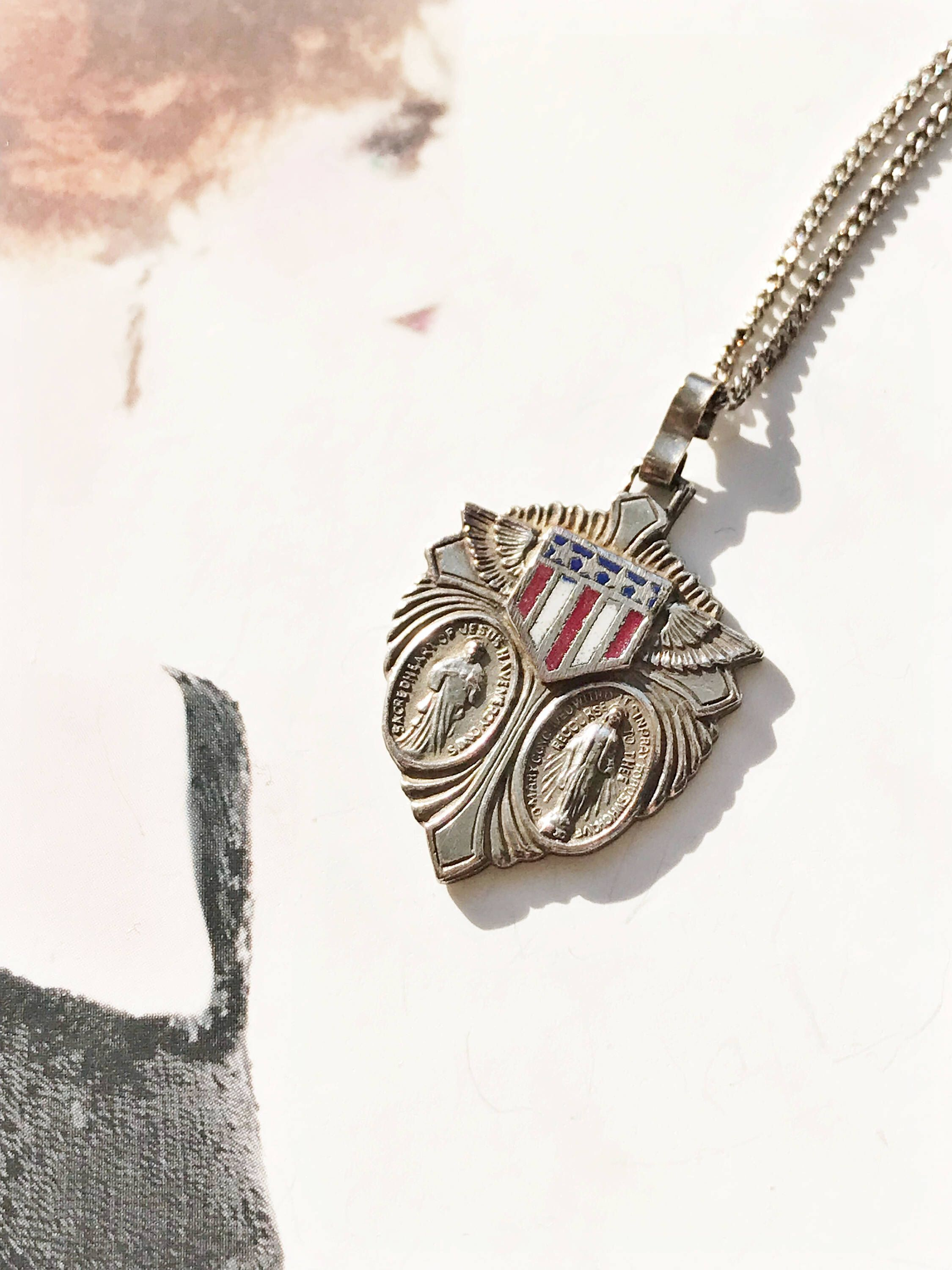 hypoallergenic flag free american brass pendant safe antiqued jewelry nickel necklace allergy for round simplywhispers