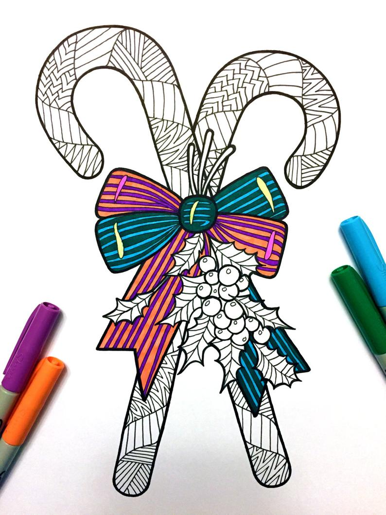 candy canes - pdf zentangle coloring page (with images