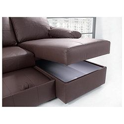 Ashmore Leather Corner Chaise Sofabed Brown Right Hand Facing New