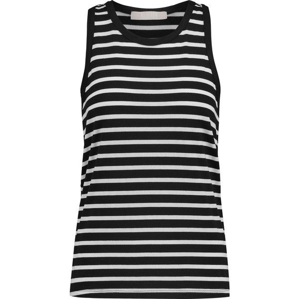 Kain Harley striped jersey tank (255 MYR) ❤ liked on Polyvore featuring tops, black, black tank, stripe tank, kain, black singlet and black jersey top