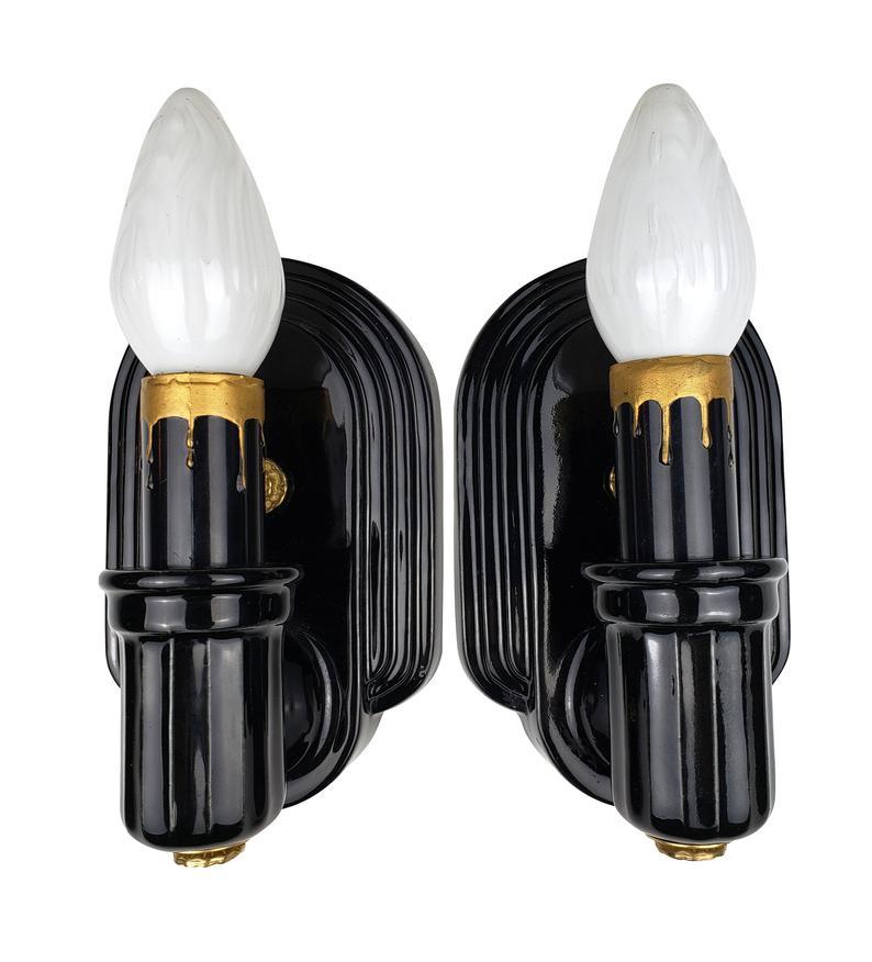 Photo of Pair of Art Deco wall lights Original black porcelain Streamline Modern Modernist Bathroom lamp Vintage period lighting Antique Vintage