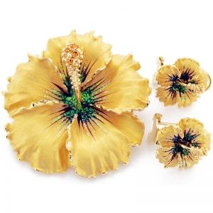 Topaz Hawaiian Hibiscus Swarovski Crystal Flower Pin brož a náušnice Dárková sada