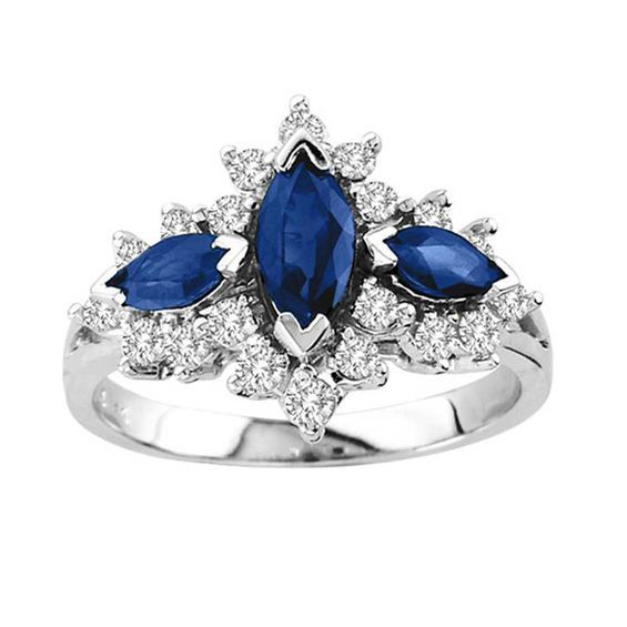 Image result for Marquise-Cut Blue Sapphire and 1/2 CT. T.W. Diamond Three Stone Ring in 14K White Gold zales