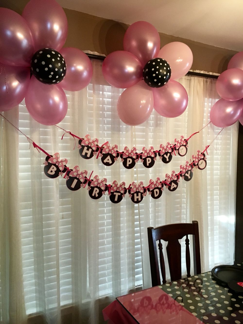 Pink petal black polka dot center flower balloons | Minnie ...