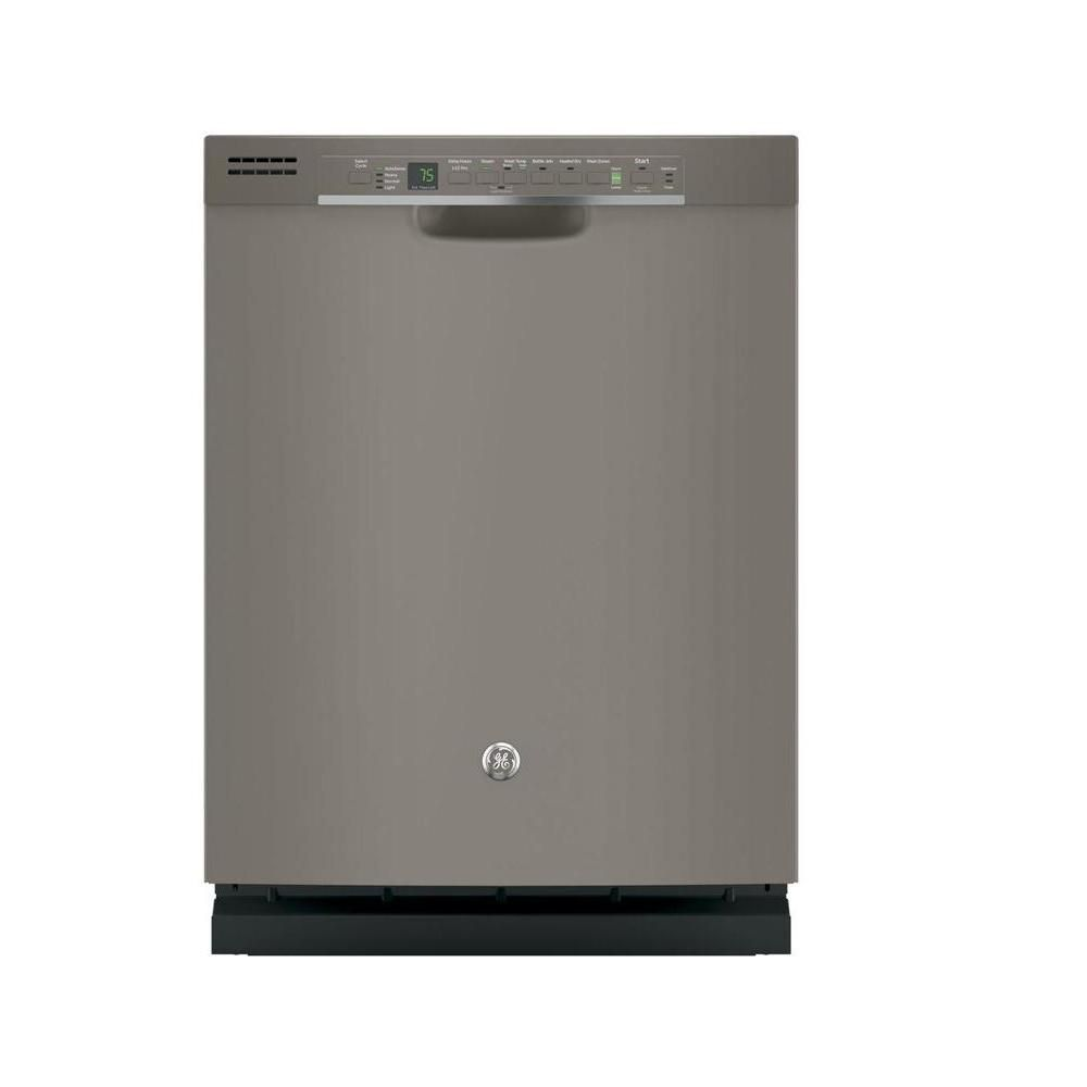 Ge Front Control Dishwasher In Slate With Hybrid Stainless Steel Tub And Steam Prewash Fingerprint Resistant Gdf620hmjes The Home Depot Steel Tub Ge Dishwasher Bottom Freezer