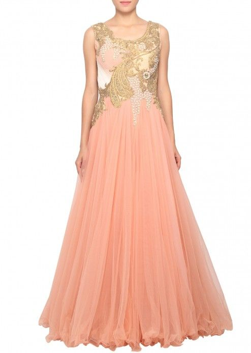 Peach net gown embellished in pleats and stone embellishment only on Kalki